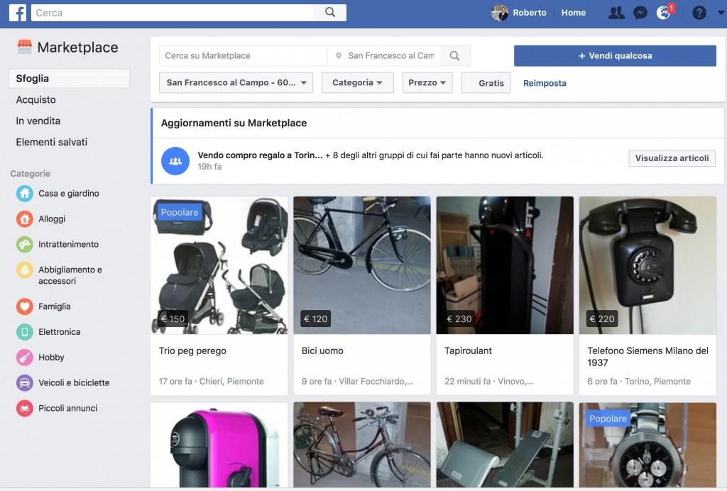 vendere e acquistare prodotti su facebook