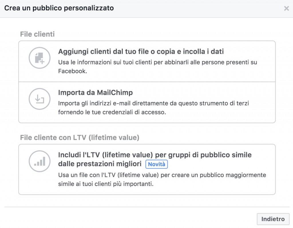 crrazione di un pubblico personalizzato facebook custom audience dei propri contatti