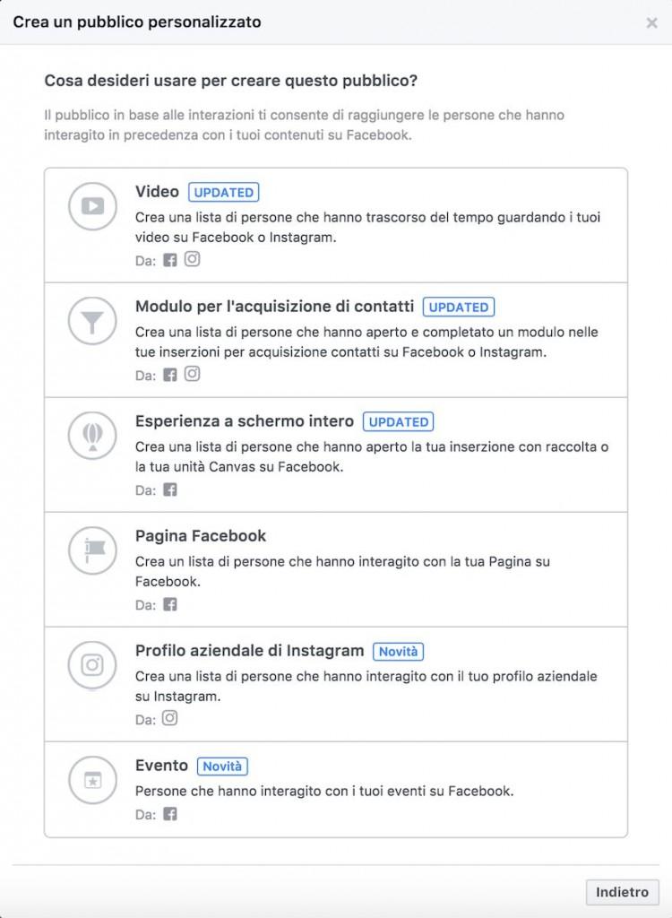 creazione pubblico personalizzato facebook dalle interazioni