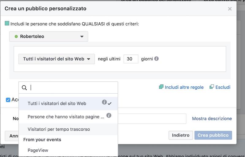 configurazione pixel monitoraggio facebook per pubblico personalizzato facebook custom audience